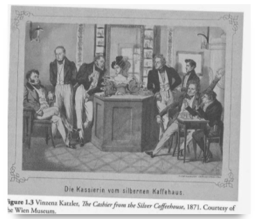 historic drawing of cafe patrons