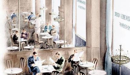 Watercolor of a birds-eye view of a cafe with multiple tables and patrons